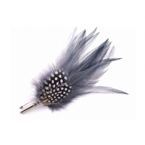Country Feather Brooch - Grey Hackles